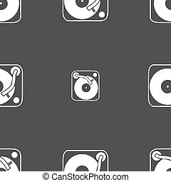 Gramophone, vinyl icon sign Seamless pattern on a gray...
