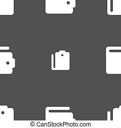 purse icon sign Seamless pattern on a gray background Vector...
