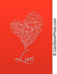Abstract Heart on Red Background