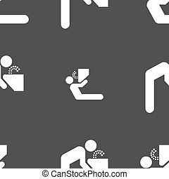 drinking fountain icon sign Seamless pattern on a gray...