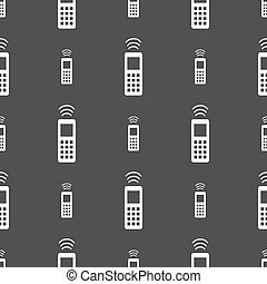 the remote control icon sign Seamless pattern on a gray...