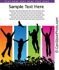 people jumping - Vector background of people jumping with...