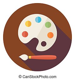 Flat Colorful Palette with Paintbrush Circle Icon with Long...