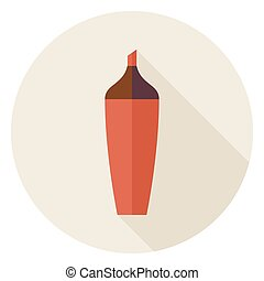Flat Highlighter Marker Circle Icon with Long Shadow