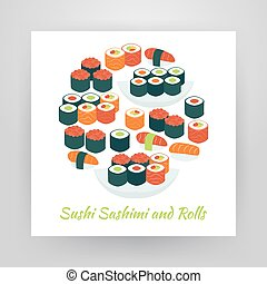 Flat Style Circle Vector Set of Food Sushi Sashimi and Rolls...