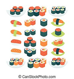 Flat Style Vector Collection of Food Sushi Sashimi and Rolls...