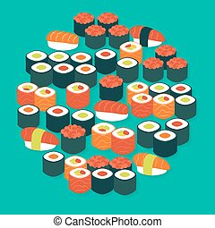 Food Sushi Sashimi and Rolls Vector Flat Design Circle...
