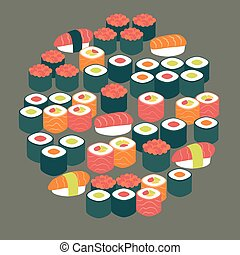 Restaurant Food Sushi Sashimi and Rolls Vector Flat Design...