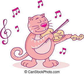 Pink cat with violin vector - Cat playing the violin funny...