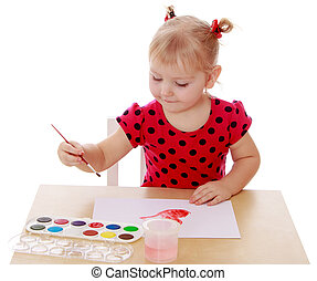 Girl draws paints - Pretty blonde little girl in a red...