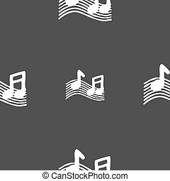 musical note, music, ringtone icon sign Seamless pattern on...
