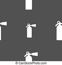 fire extinguisher icon sign Seamless pattern on a gray...