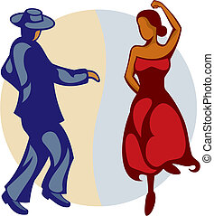 Flamenco Dancers vector - Illustration of a couple of...