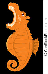 Hippopocampus vector - Cartoon of a seahorse with hippos...