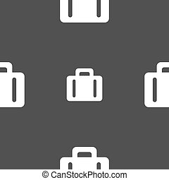 suitcase icon sign. Seamless pattern on a gray background. Vector