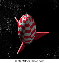 rocket - 3d rendering of a red and white rocket and stars