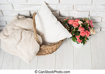 Cozy country home decor - Bouquet of pink roses in vintage...