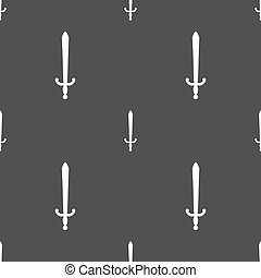 the sword icon sign Seamless pattern on a gray background...