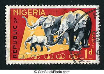postmark - NIGERIA - CIRCA 1965: Fauna of Nigeria. elephant,...