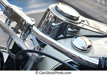 Motorbike handlebar and dashboard - Detail of motorbike...