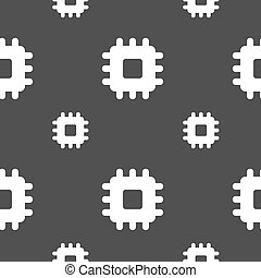 Central Processing Unit icon sign. Seamless pattern on a gray background. Vector