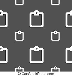 Text file icon sign. Seamless pattern on a gray background. Vector