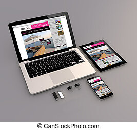 laptop, tablet and smartphone trends blog - Responsive...