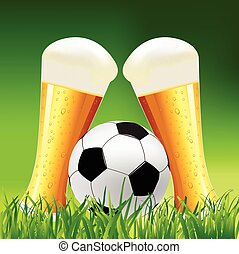 Background with Beer and Soccer Bal - Beer glass and soccer...