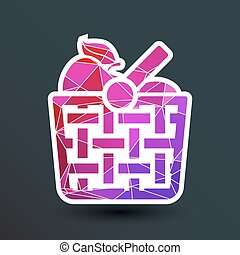 Basket icon with shadow and other picnic icons