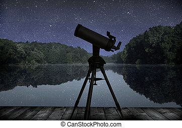 Lake - The big wood lake at night with sky with stars and...