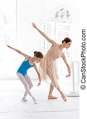 The little ballerina posing at ballet barre with personal...