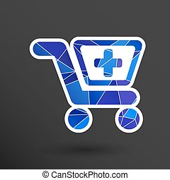 Illustration isolated shopping cart icon with a pharmacy...
