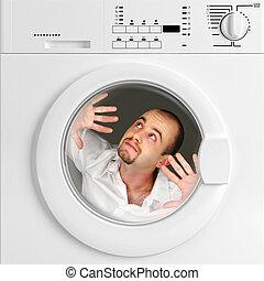 rigolote, portrait, homme, intérieur, lavage, machine