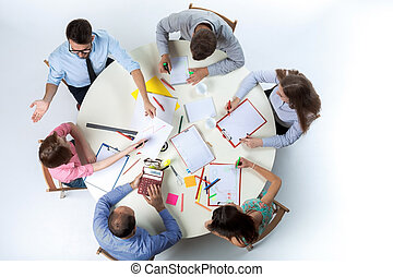 Top view of business team on workspace background - Top view...