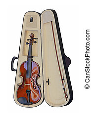 Violin in Case Isolated Included Clipping Path