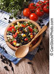 vegetal, ensalada, con, negro, frijoles, y, ingredientes,...