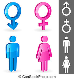 Gender symbols. - Three-dimensional shapes of male and...
