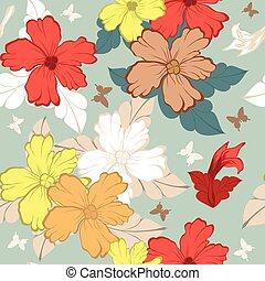 Seamless floral pattern - Colourfull seamless floral ornate...