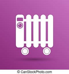 Typical heater filled radiator icon symbol electric