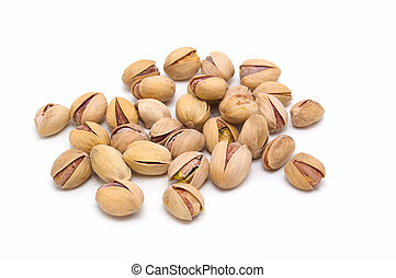 Pistachio nuts. - Salted pistachio nuts on a white...