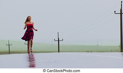 Joy Runs in a leap. - The girl runs to the camera. Reflexion...