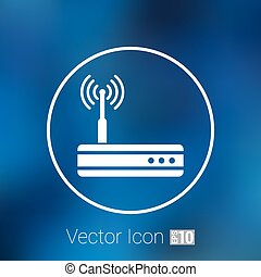 Vector wireless router icon wifi adsl ethernet modem hub
