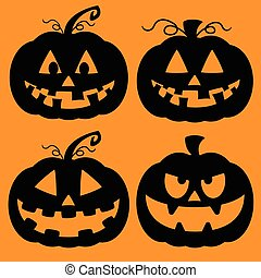 Set of Jack O Lantern Silhouettes - Illustrated set of...
