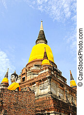 Old Temple Architecture , Wat Yai Chai Mongkol at Ayutthaya,...