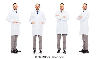 doctors in white coat - medicine, science, profession and...
