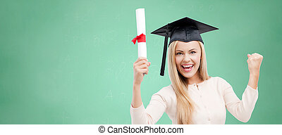 student in trencher cap with diploma over green - education,...