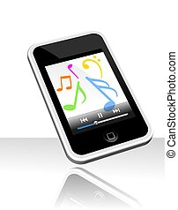 Mp3 player - 3d illustration of touch screen mp3 player