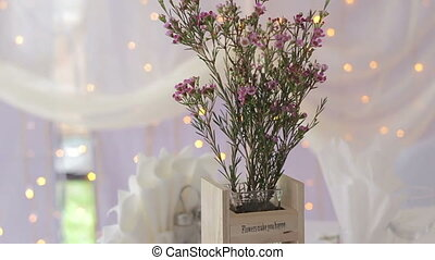 Beautiful flowers on table in wedding day HD