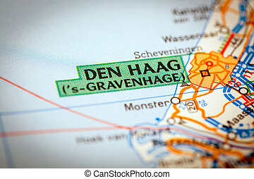 Den Haag City on a Road Map - Map Photography: Den Haag City...