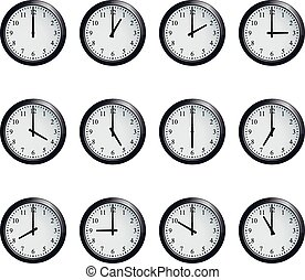 Clock set timed at each hour on white background - Set of...